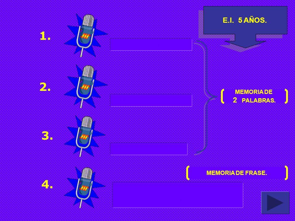 E.I. 4 AÑOS. 1. 2. 3. COME MOCHILA MARTILLO EL NIÑO ES GRANDE MEMORIA DE PALABRAS. MEMORIA DE FRASE.