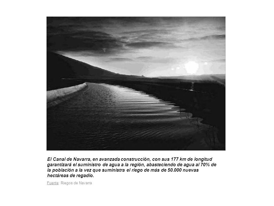 El Canal de Navarra, en avanzada construcción, con sus 177 km de longitud garantizará el suministro de agua a la región, abasteciendo de agua al 70% de la población a la vez que suministra el riego de más de 50.000 nuevas hectáreas de regadío.