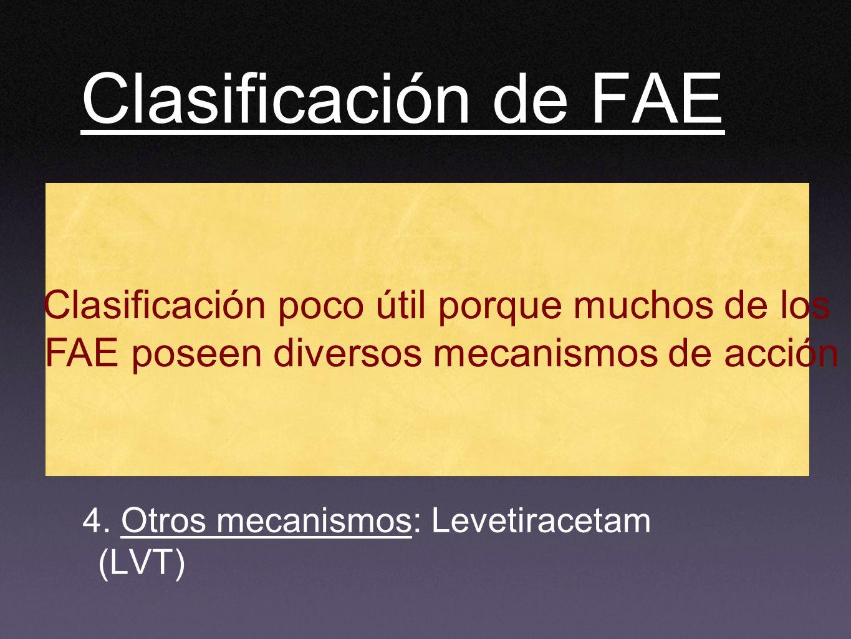 Clasificación de FAE 1. Actúan sobre canales iónicos: CBZ, FNT, LMT, OXC, ETX Zonisamida. 2. Potencian tono Gabaérgico: BDZ, FNB,TGB, VGB. 3. Múltiple