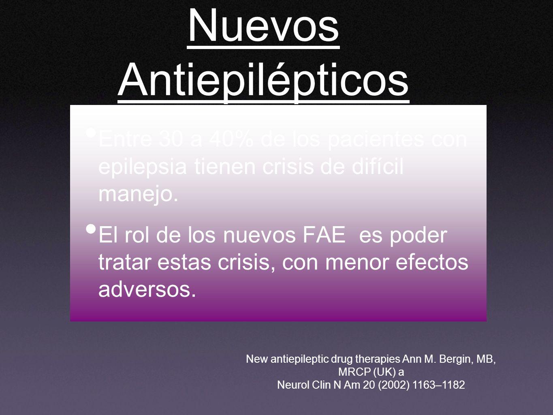 Nuevos Antiepilépticos Entre 30 a 40% de los pacientes con epilepsia tienen crisis de difícil manejo. El rol de los nuevos FAE es poder tratar estas c