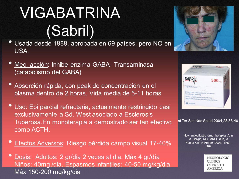 VIGABATRINA (Sabril) Usada desde 1989, aprobada en 69 países, pero NO en USA. Mec. acción: Inhibe enzima GABA- Transaminasa (catabolismo del GABA) Abs