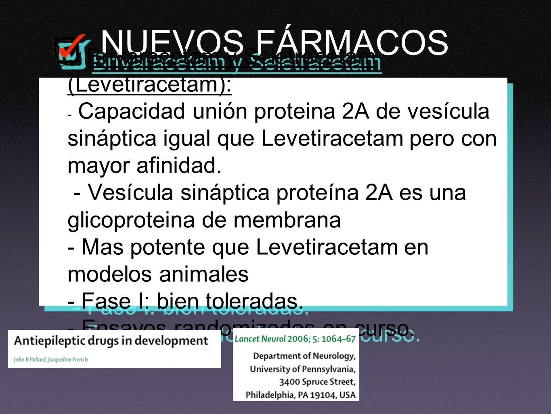 NUEVOS FÁRMACOS Brivaracetam y Seletracetam (Levetiracetam): - Capacidad unión proteina 2A de vesícula sináptica igual que Levetiracetam pero con mayo