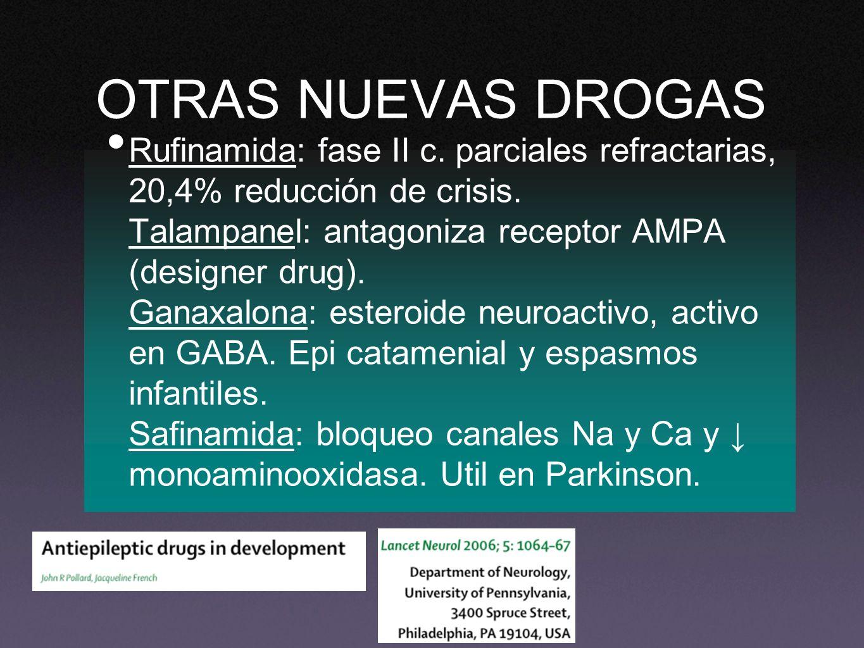OTRAS NUEVAS DROGAS Rufinamida: fase II c. parciales refractarias, 20,4% reducción de crisis. Talampanel: antagoniza receptor AMPA (designer drug). Ga