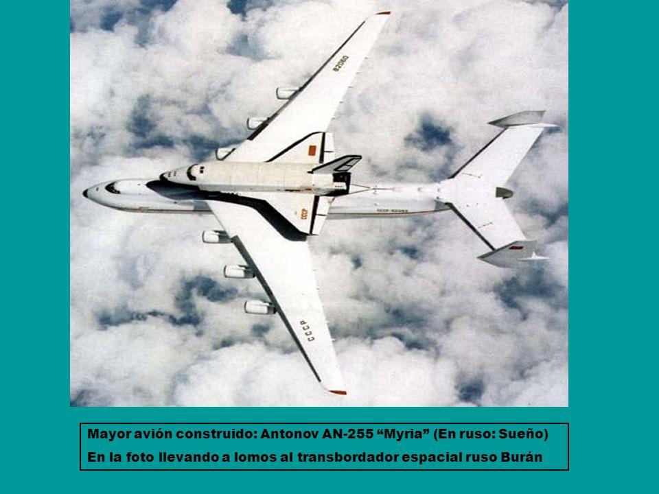 Mayor avión construido: Antonov AN-255 Myria (En ruso: Sueño) En la foto llevando a lomos al transbordador espacial ruso Burán