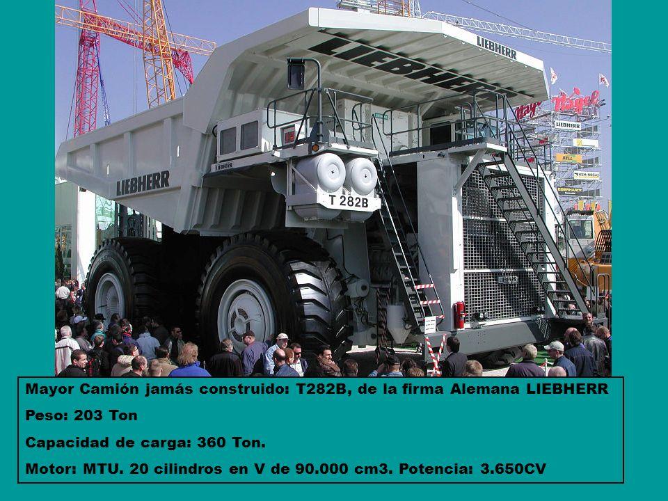 Mayor Camión jamás construido: T282B, de la firma Alemana LIEBHERR Peso: 203 Ton Capacidad de carga: 360 Ton. Motor: MTU. 20 cilindros en V de 90.000