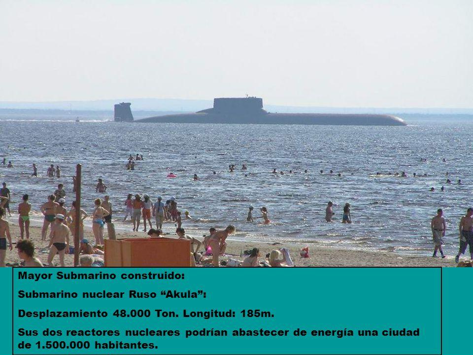 Mayor Submarino construido: Submarino nuclear Ruso Akula: Desplazamiento 48.000 Ton. Longitud: 185m. Sus dos reactores nucleares podrían abastecer de