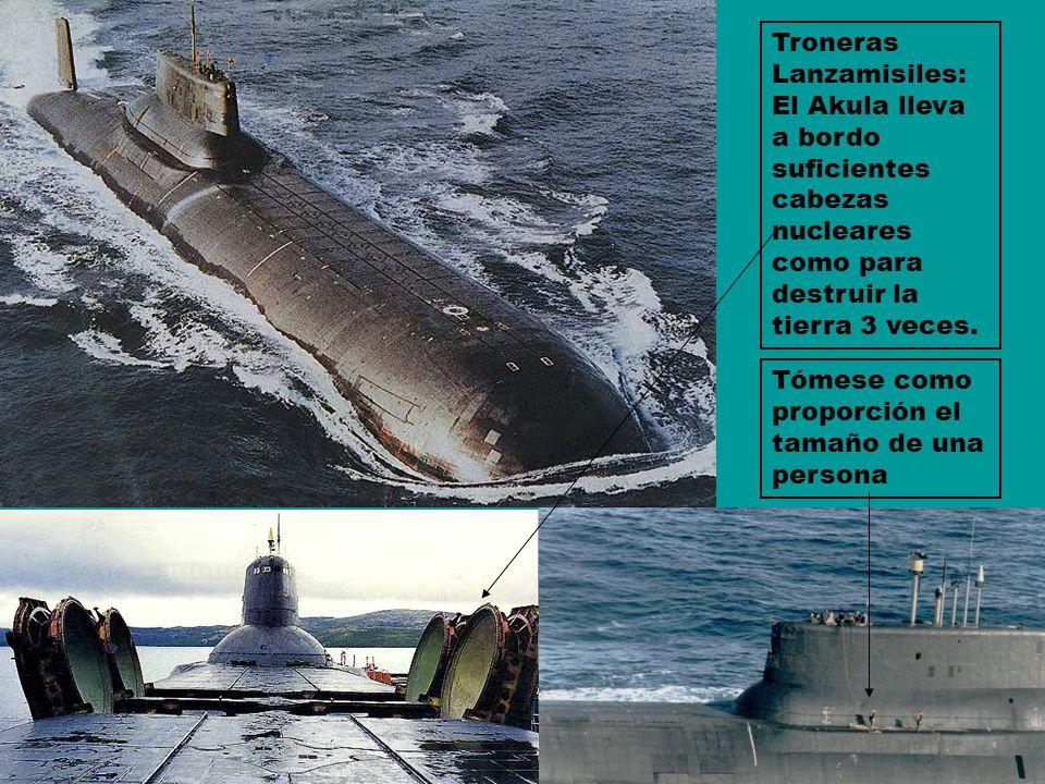 Tómese como proporción el tamaño de una persona Troneras Lanzamisiles: El Akula lleva a bordo suficientes cabezas nucleares como para destruir la tier