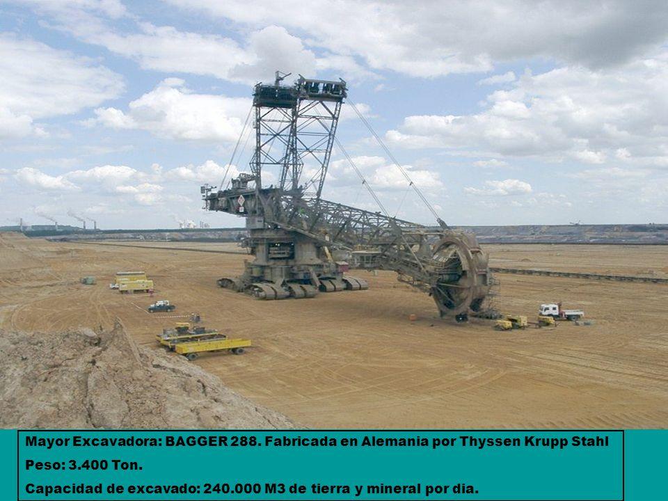 Mayor Excavadora: BAGGER 288. Fabricada en Alemania por Thyssen Krupp Stahl Peso: 3.400 Ton. Capacidad de excavado: 240.000 M3 de tierra y mineral por