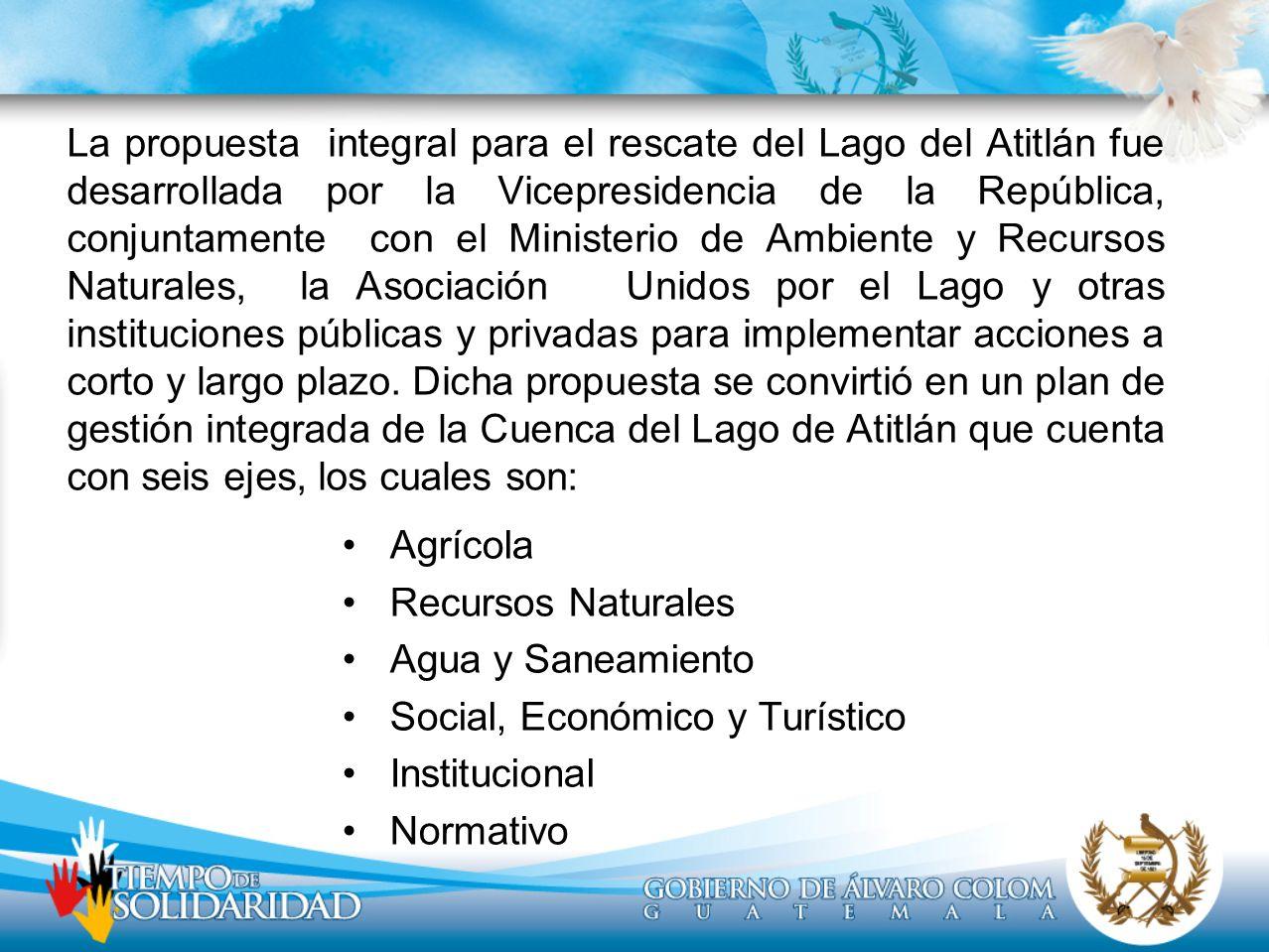 Agrícola Recursos Naturales Agua y Saneamiento Social, Económico y Turístico Institucional Normativo La propuesta integral para el rescate del Lago de