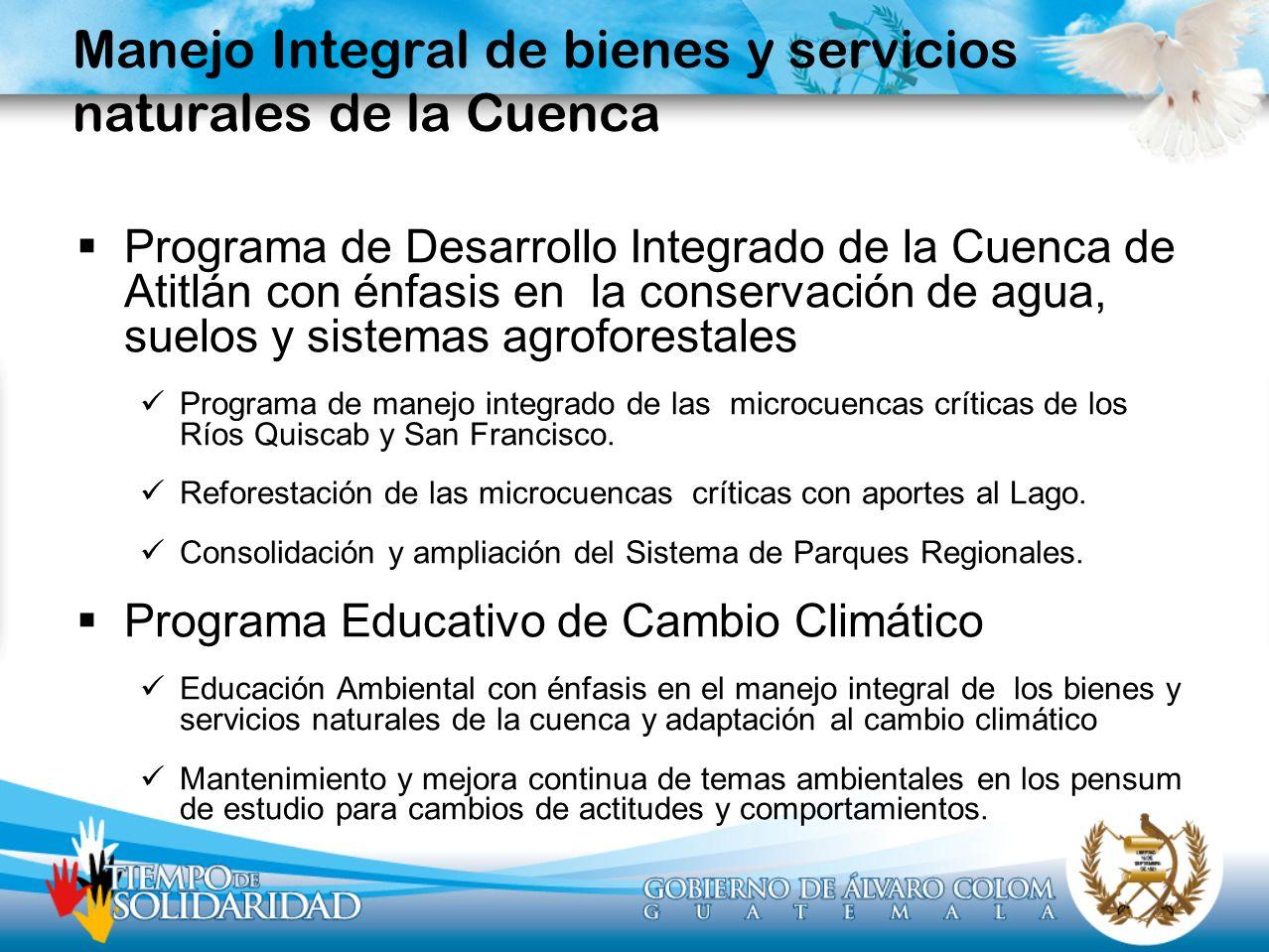 Manejo Integral de bienes y servicios naturales de la Cuenca Programa de Desarrollo Integrado de la Cuenca de Atitlán con énfasis en la conservación d