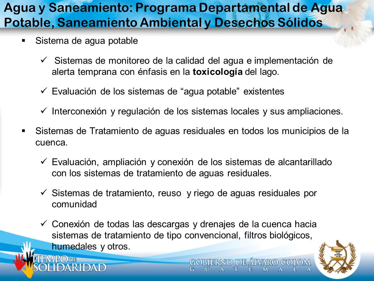 Agua y Saneamiento: Programa Departamental de Agua Potable, Saneamiento Ambiental y Desechos Sólidos Sistema de agua potable Sistemas de monitoreo de