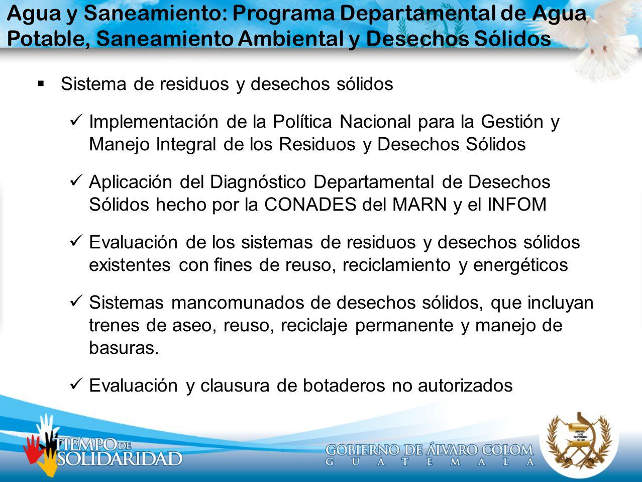 Sistema de residuos y desechos sólidos Implementación de la Política Nacional para la Gestión y Manejo Integral de los Residuos y Desechos Sólidos Apl