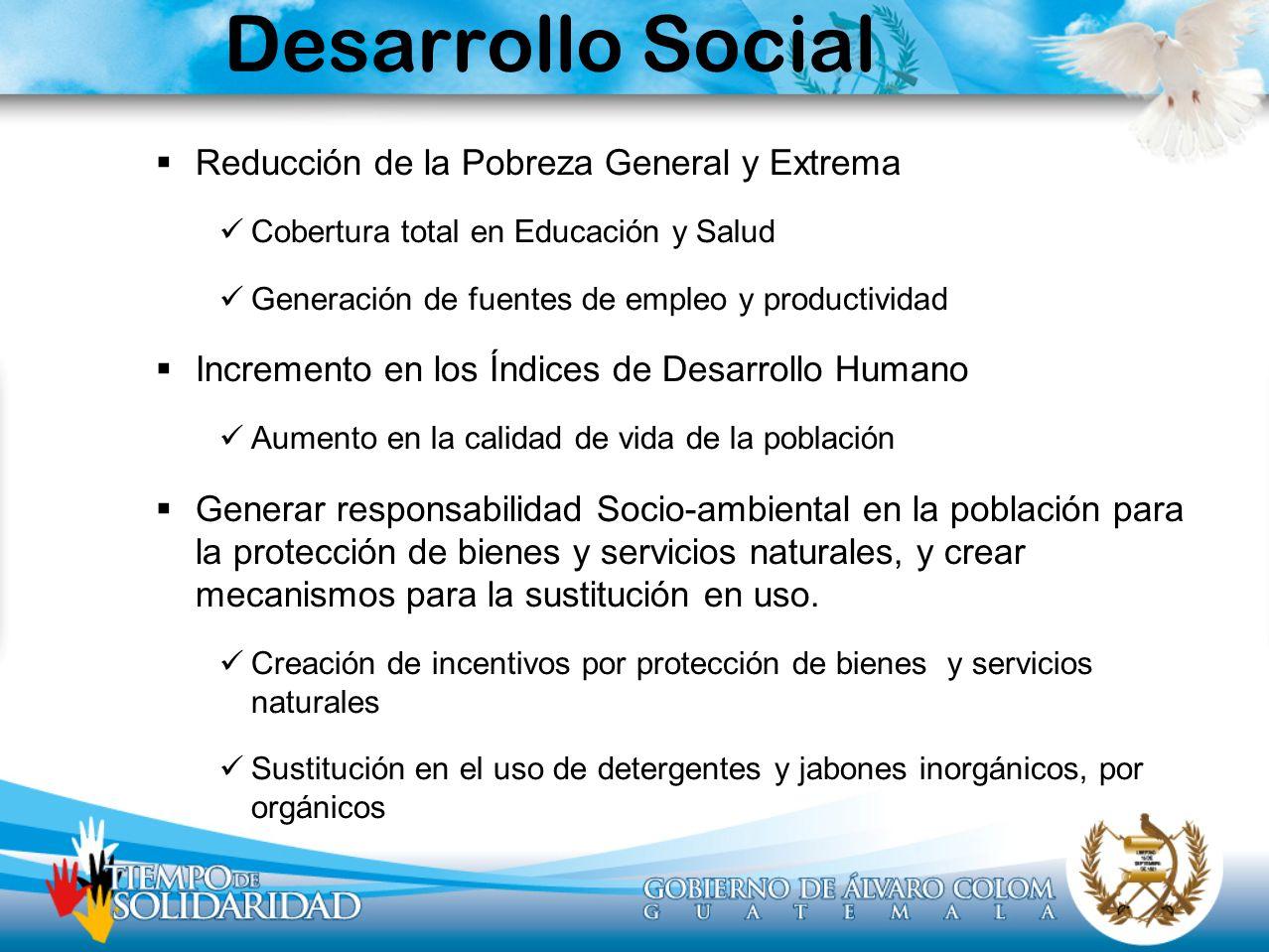 Desarrollo Social Reducción de la Pobreza General y Extrema Cobertura total en Educación y Salud Generación de fuentes de empleo y productividad Incre