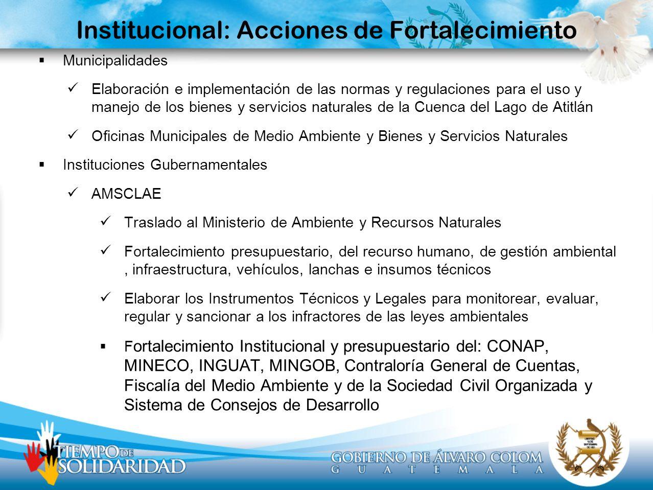 Institucional: Acciones de Fortalecimiento Municipalidades Elaboración e implementación de las normas y regulaciones para el uso y manejo de los biene