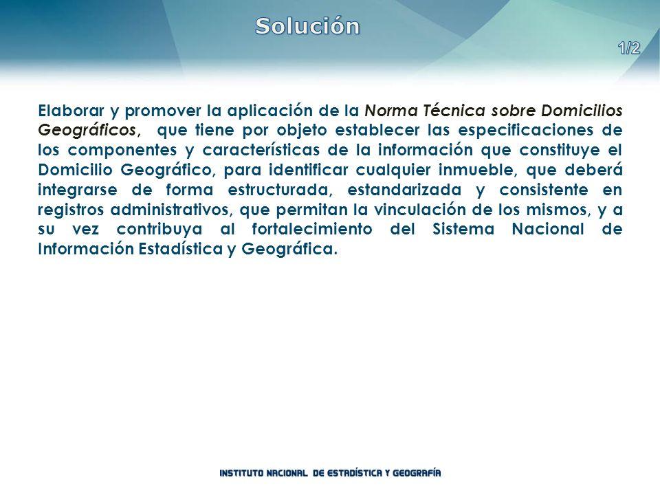 Elaborar y promover la aplicación de la Norma Técnica sobre Domicilios Geográficos, que tiene por objeto establecer las especificaciones de los compon