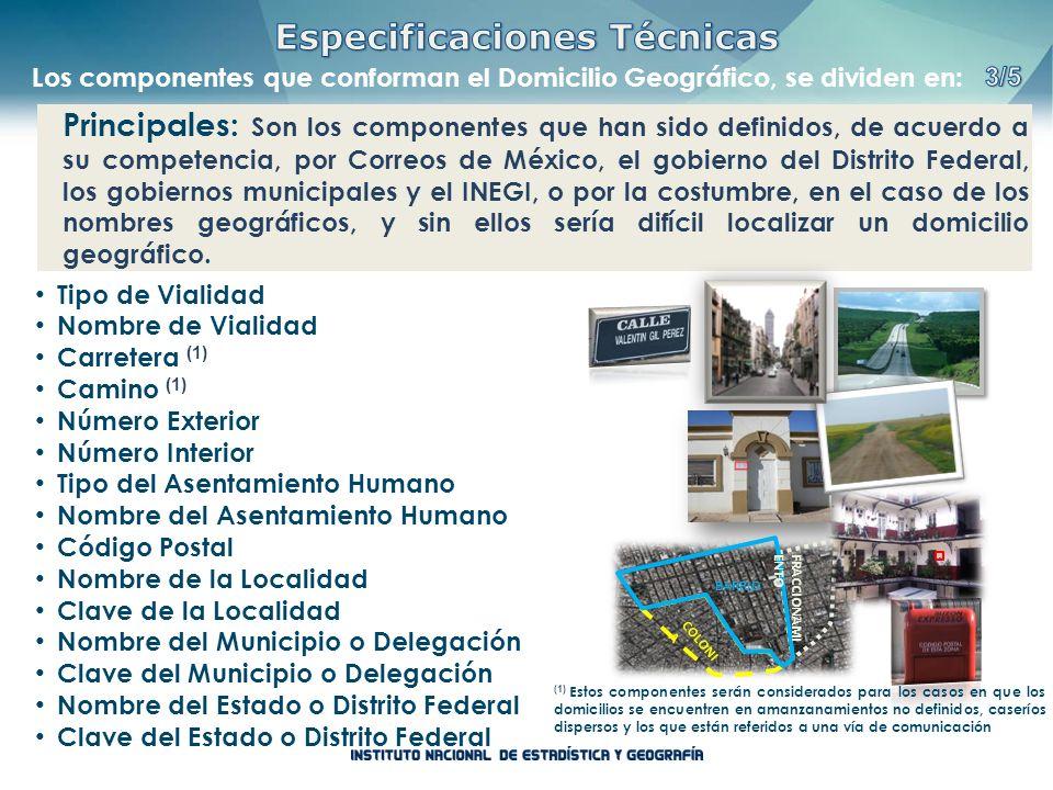 Principales: Son los componentes que han sido definidos, de acuerdo a su competencia, por Correos de México, el gobierno del Distrito Federal, los gob