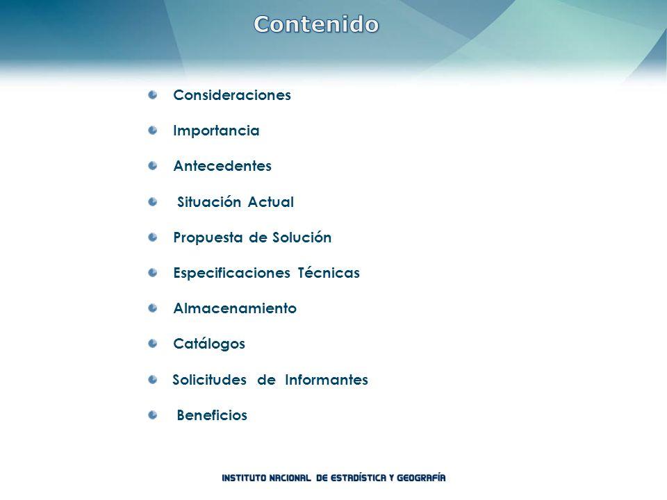Consideraciones Importancia Antecedentes Situación Actual Propuesta de Solución Especificaciones Técnicas Almacenamiento Catálogos Solicitudes de Info