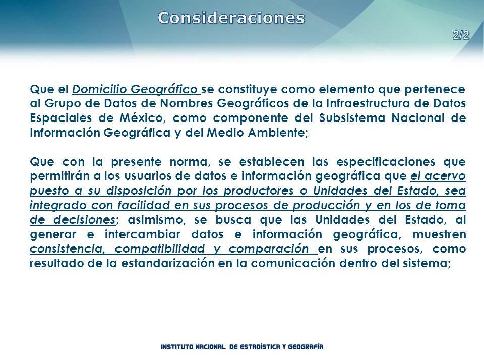Que el Domicilio Geográfico se constituye como elemento que pertenece al Grupo de Datos de Nombres Geográficos de la Infraestructura de Datos Espacial