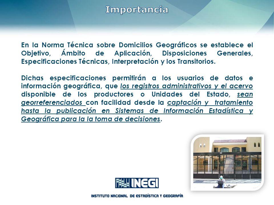 En la Norma Técnica sobre Domicilios Geográficos se establece el Objetivo, Ámbito de Aplicación, Disposiciones Generales, Especificaciones Técnicas, I