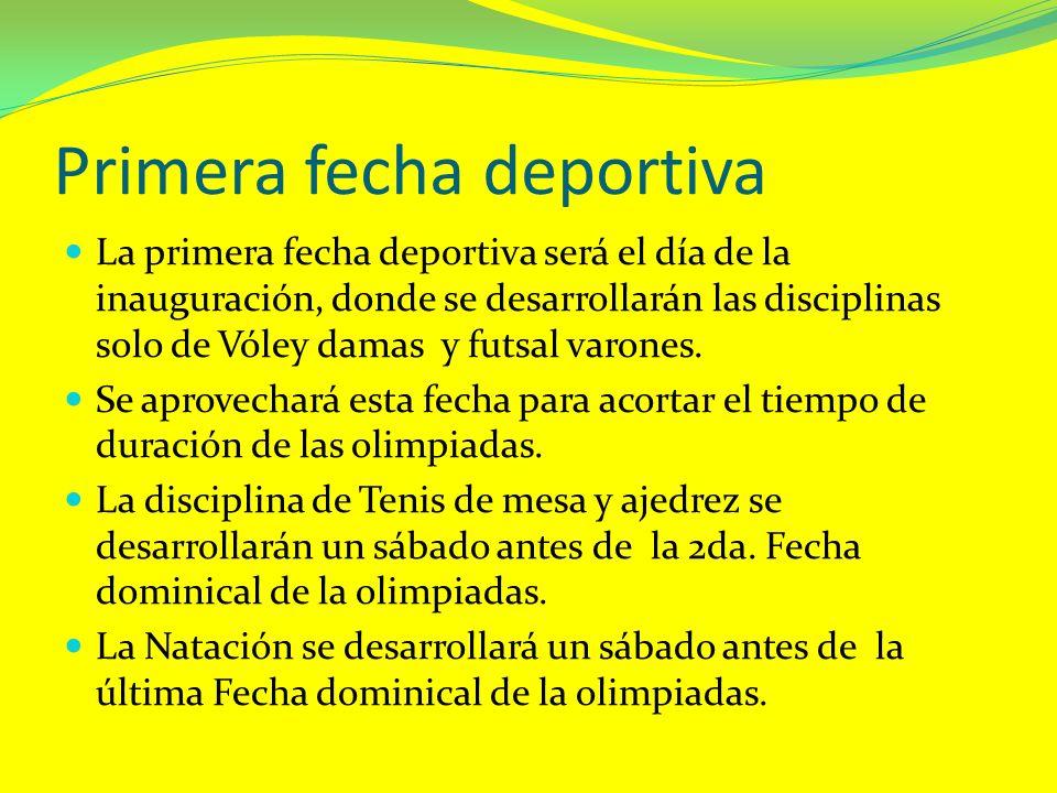 Primera fecha deportiva La primera fecha deportiva será el día de la inauguración, donde se desarrollarán las disciplinas solo de Vóley damas y futsal