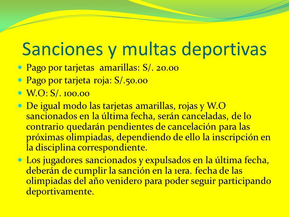 Sanciones y multas deportivas Pago por tarjetas amarillas: S/. 20.00 Pago por tarjeta roja: S/.50.00 W.O: S/. 100.00 De igual modo las tarjetas amaril