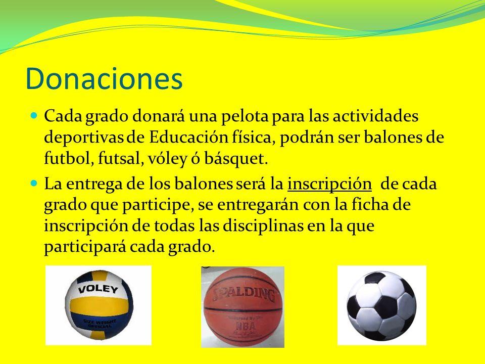 Donaciones Cada grado donará una pelota para las actividades deportivas de Educación física, podrán ser balones de futbol, futsal, vóley ó básquet. La