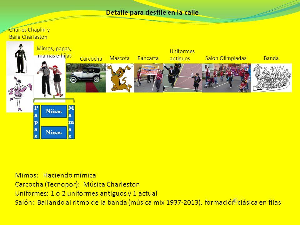 Charles Chaplin y Baile Charleston Mimos, papas, mamas e hijas Carcocha MascotaPancarta Uniformes antiguos Salon OlimpiadasBanda Detalle para desfile