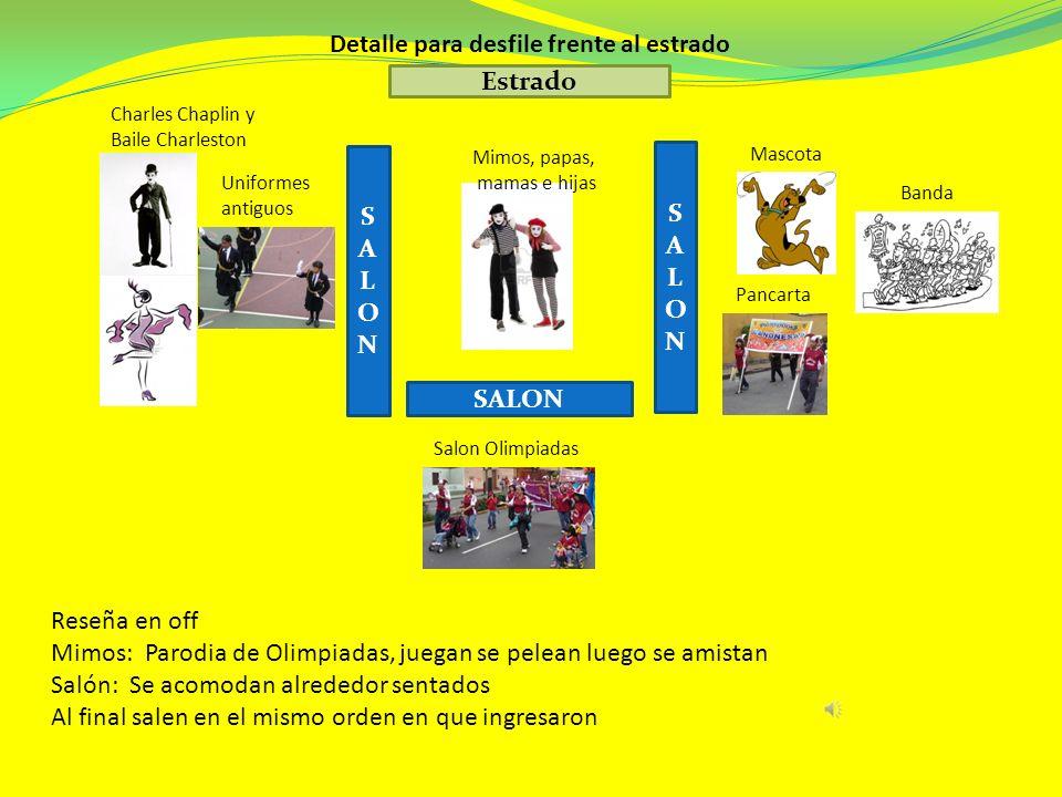 Charles Chaplin y Baile Charleston Mimos, papas, mamas e hijas Mascota Pancarta Uniformes antiguos Salon Olimpiadas Banda Detalle para desfile frente