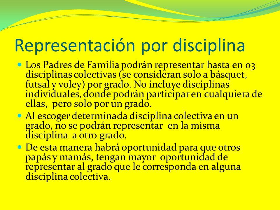 Representación por disciplina Los Padres de Familia podrán representar hasta en 03 disciplinas colectivas (se consideran solo a básquet, futsal y vole