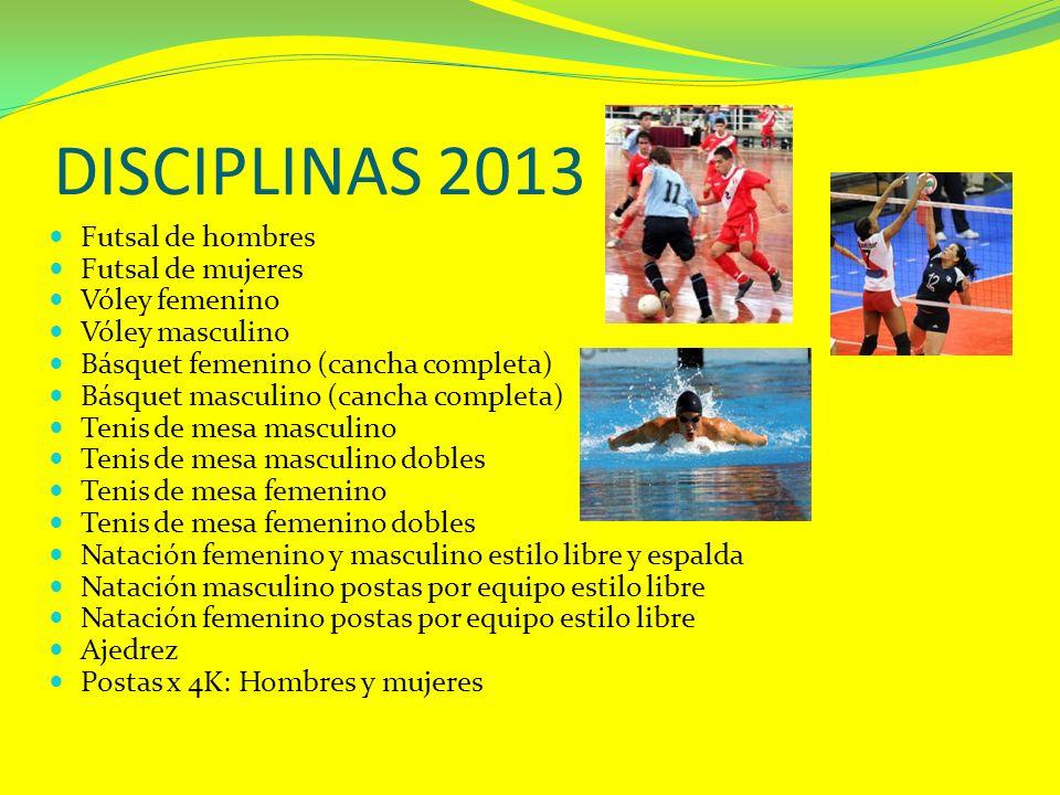 DISCIPLINAS 2013 Futsal de hombres Futsal de mujeres Vóley femenino Vóley masculino Básquet femenino (cancha completa) Básquet masculino (cancha compl