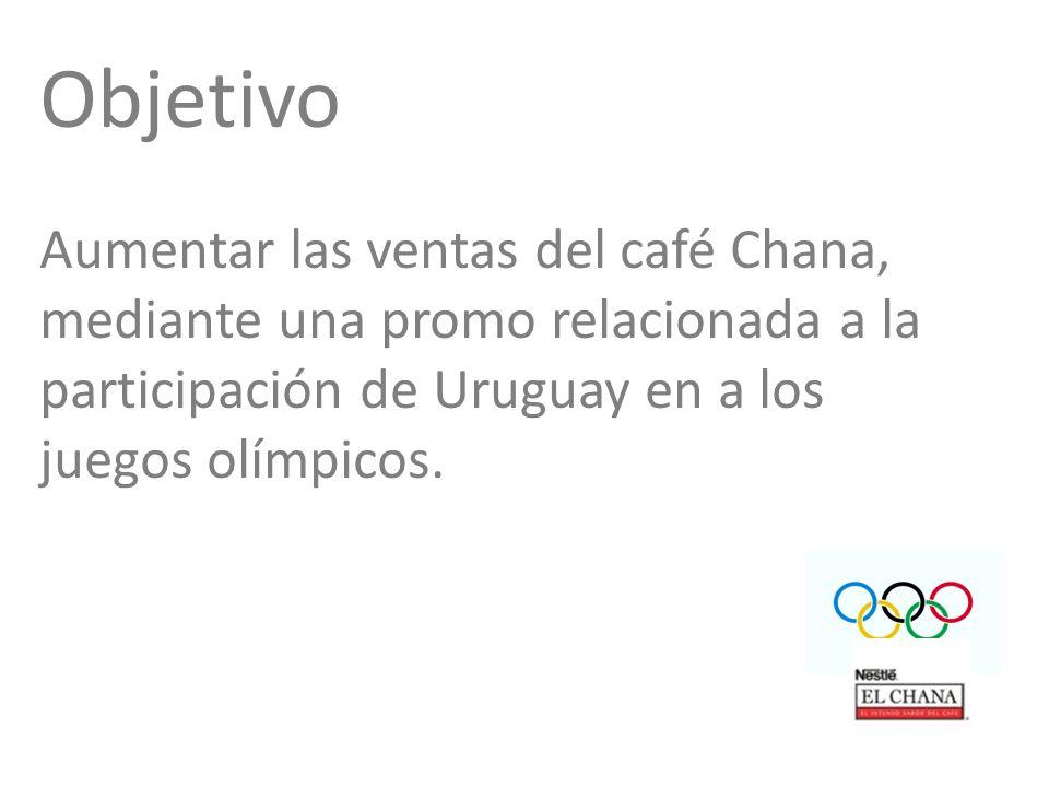 Objetivo Aumentar las ventas del café Chana, mediante una promo relacionada a la participación de Uruguay en a los juegos olímpicos.
