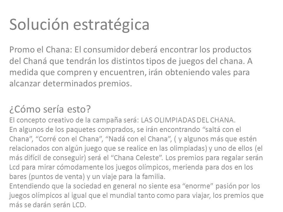Solución estratégica Promo el Chana: El consumidor deberá encontrar los productos del Chaná que tendrán los distintos tipos de juegos del chana.