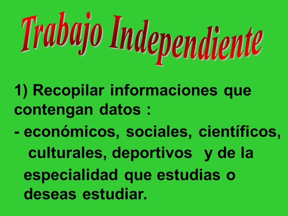 1) Recopilar informaciones que contengan datos : - económicos, sociales, culturales,deportivos científicos, y de la especialidad que estudias o deseas estudiar.