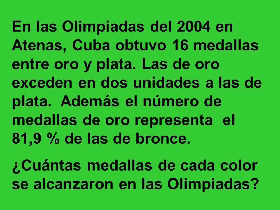 En las Olimpiadas del 2004 en Atenas, Cuba obtuvo 16 medallas entre oro y plata. Las de oro exceden en dos unidades a las de plata. Además el número d
