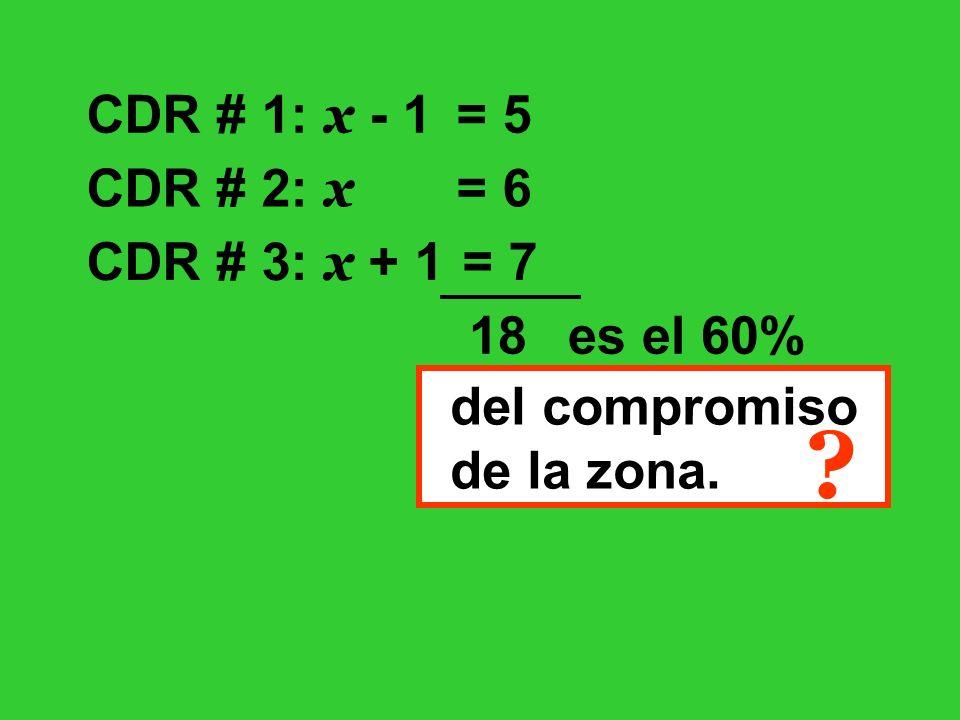 CDR # 1: x - 1 CDR # 2: x CDR # 3: x + 1 = 5 = 6 = 7 18 es el 60% del compromiso de la zona. ?