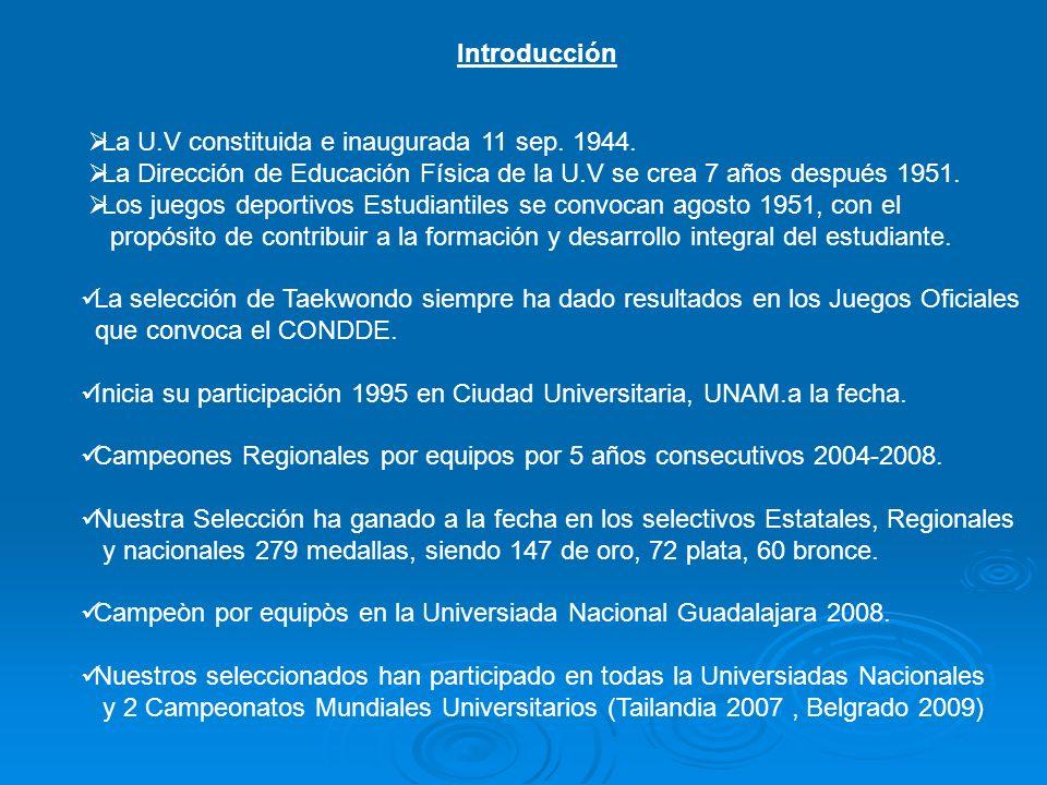 Introducción La U.V constituida e inaugurada 11 sep.