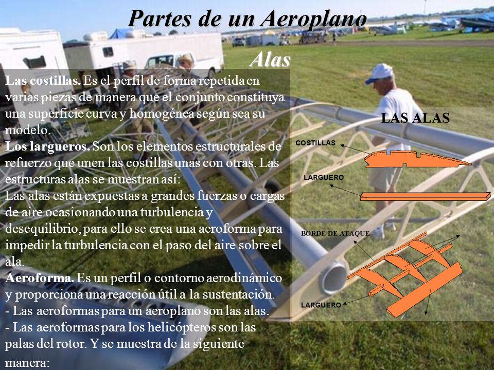 Partes de un Aeroplano Alas Las costillas. Es el perfil de forma repetida en varias piezas de manera que el conjunto constituya una superficie curva y
