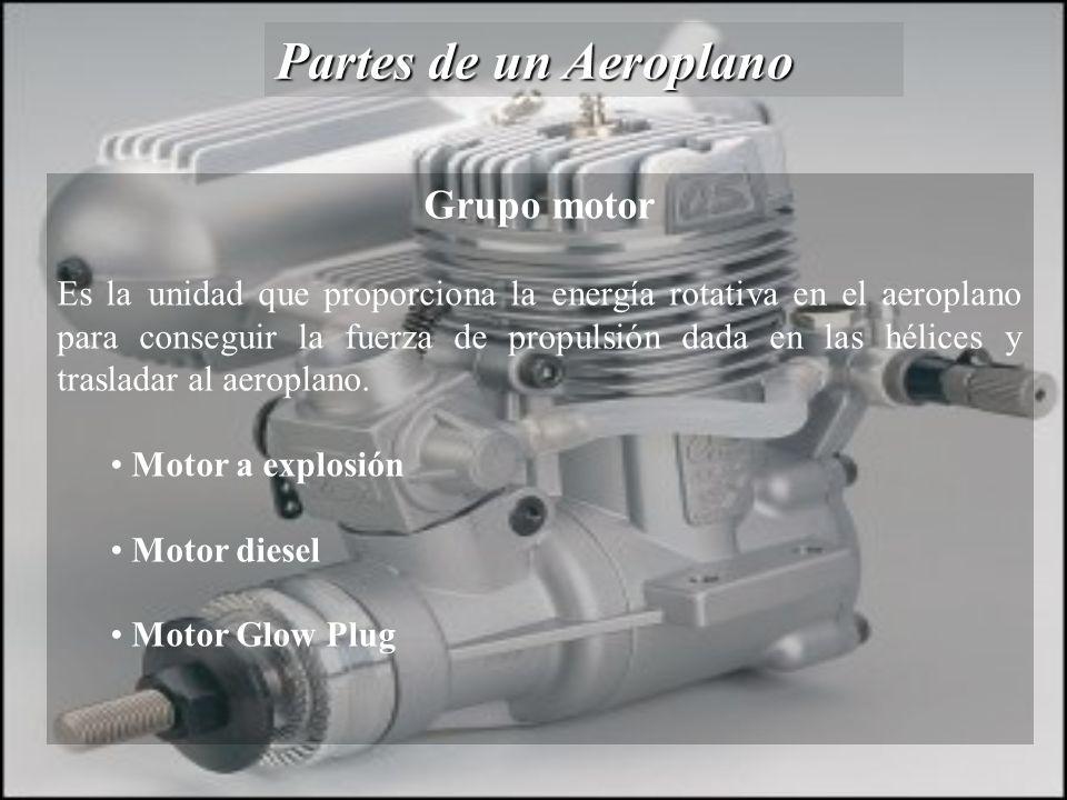 Partes de un Aeroplano Grupo motor Es la unidad que proporciona la energía rotativa en el aeroplano para conseguir la fuerza de propulsión dada en las hélices y trasladar al aeroplano.