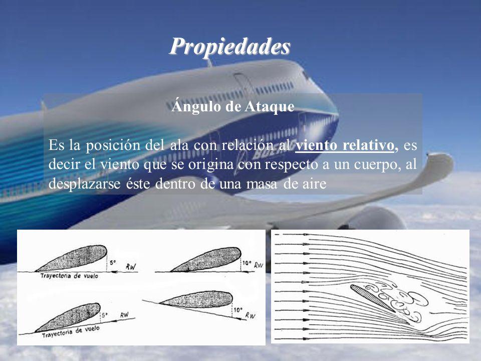 Propiedades Ángulo de Ataque Es la posición del ala con relación al viento relativo, es decir el viento que se origina con respecto a un cuerpo, al desplazarse éste dentro de una masa de aire