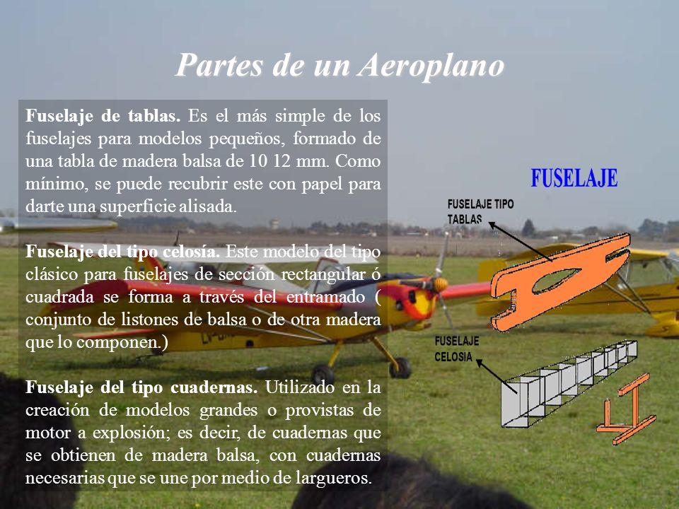 Partes de un Aeroplano Fuselaje de tablas. Es el más simple de los fuselajes para modelos pequeños, formado de una tabla de madera balsa de 10 12 mm.
