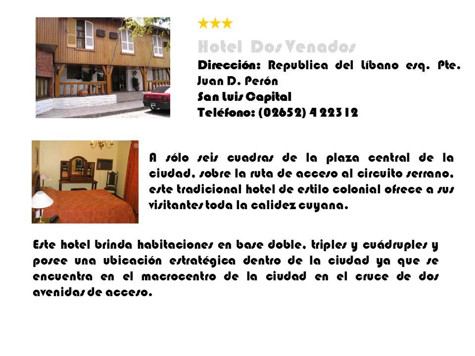 A sólo seis cuadras de la plaza central de la ciudad, sobre la ruta de acceso al circuito serrano, este tradicional hotel de estilo colonial ofrece a sus visitantes toda la calidez cuyana.