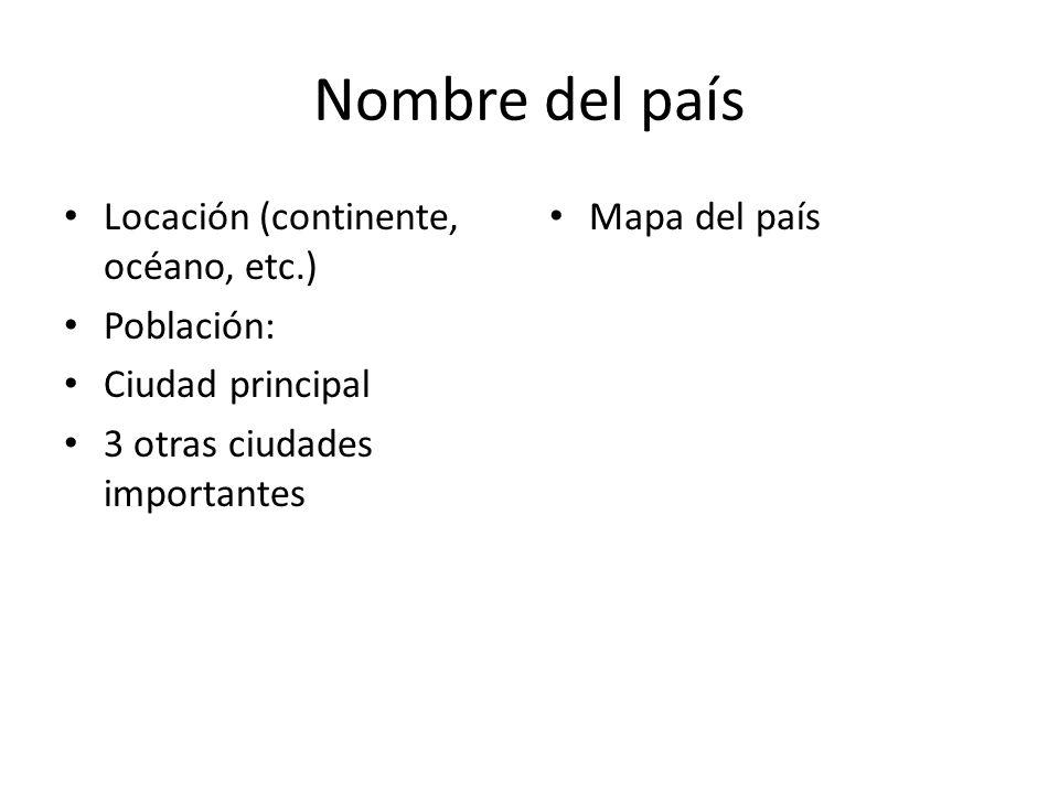 Nombre del país Locación (continente, océano, etc.) Población: Ciudad principal 3 otras ciudades importantes Mapa del país
