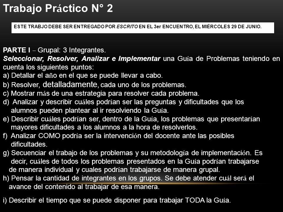 Trabajo Pr á ctico N° 2 PARTE I – Grupal: 3 Integrantes. Seleccionar, Resolver, Analizar e Implementar una Gu í a de Problemas teniendo en cuenta los