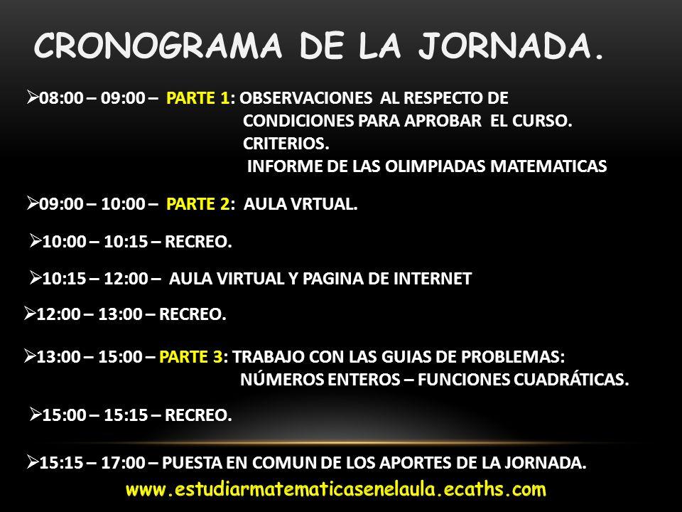 CRONOGRAMA DE LA JORNADA. 08:00 – 09:00 – PARTE 1: OBSERVACIONES AL RESPECTO DE CONDICIONES PARA APROBAR EL CURSO. CRITERIOS. INFORME DE LAS OLIMPIADA