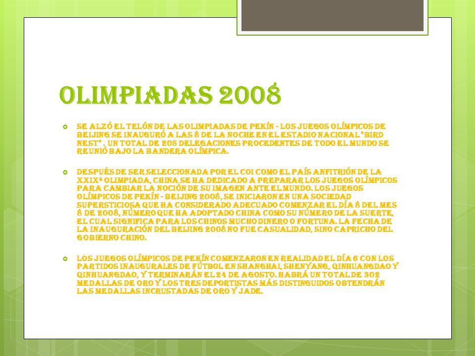 OLIMPIADAS 2008 Se alzó el telón de las Olimpiadas de Pekín - los Juegos Olímpicos de Beijing se inauguró a las 8 de la noche en el Estadio Nacional