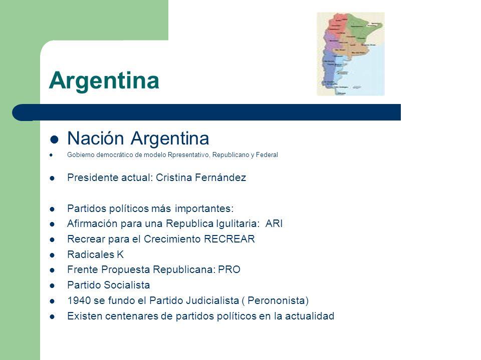 Argentina Nación Argentina Gobierno democrático de modelo Rpresentativo, Republicano y Federal Presidente actual: Cristina Fernández Partidos político