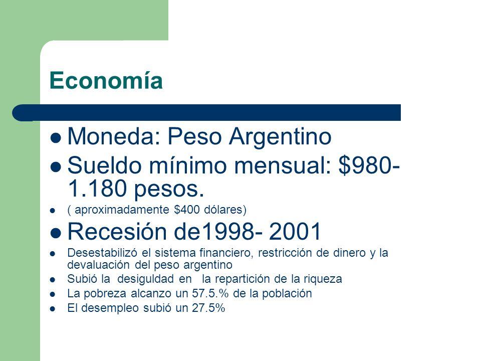 Economía Moneda: Peso Argentino Sueldo mínimo mensual: $980- 1.180 pesos. ( aproximadamente $400 dólares) Recesión de1998- 2001 Desestabilizó el siste