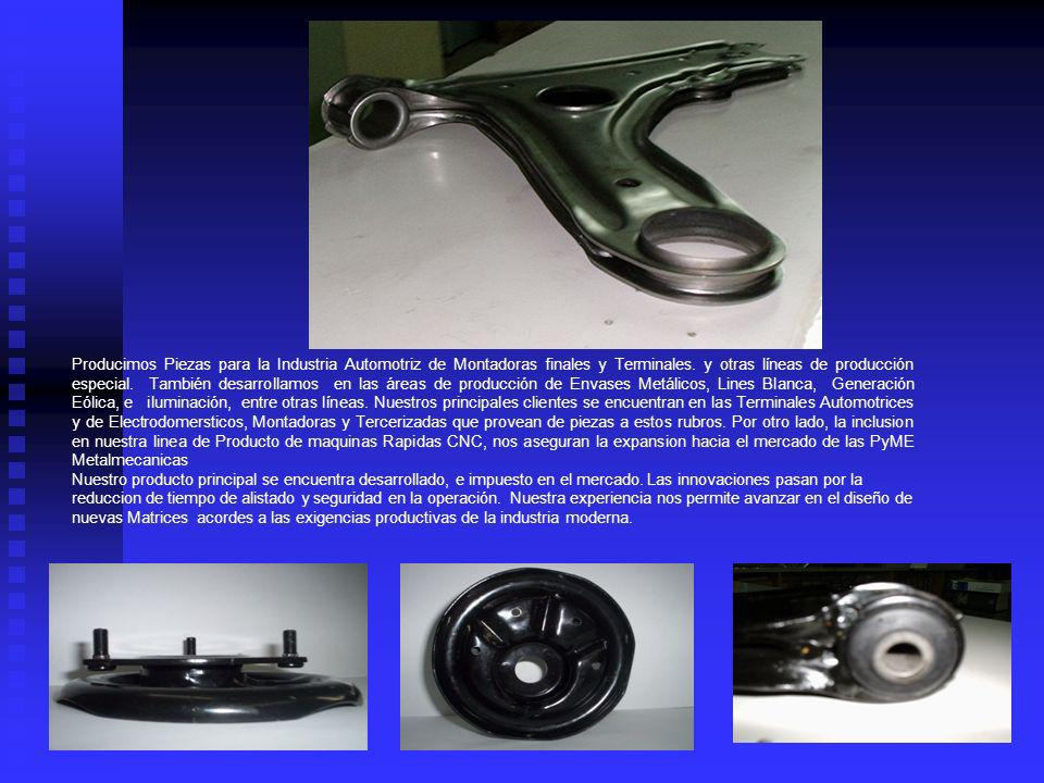Producimos Piezas para la Industria Automotriz de Montadoras finales y Terminales. y otras líneas de producción especial. También desarrollamos en las