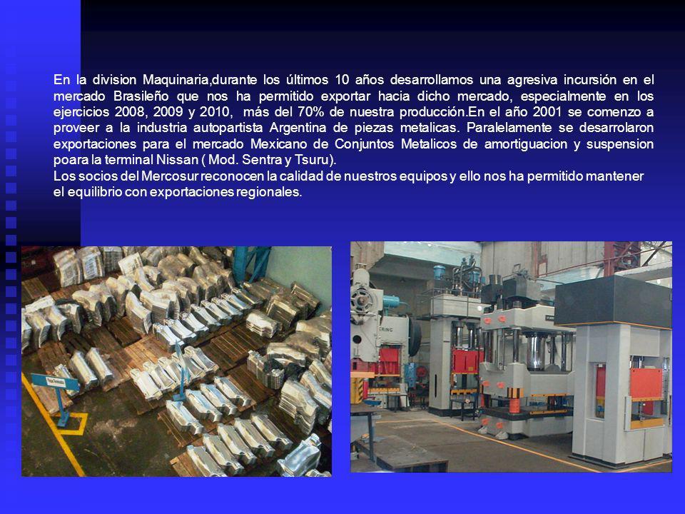 En la division Maquinaria,durante los últimos 10 años desarrollamos una agresiva incursión en el mercado Brasileño que nos ha permitido exportar hacia