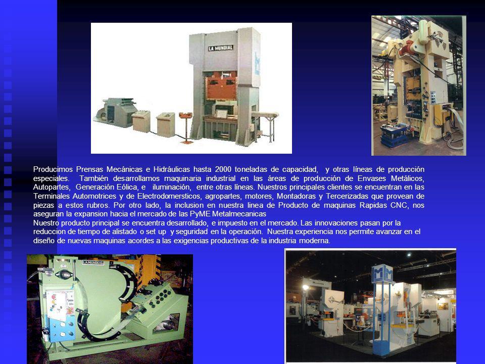 Producimos Prensas Mecánicas e Hidráulicas hasta 2000 toneladas de capacidad, y otras líneas de producción especiales. También desarrollamos maquinari